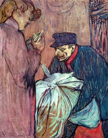 Henri De Toulouse-Lautrec The Laundryman Calling at the Brothal - Hand Painted Oil Painting