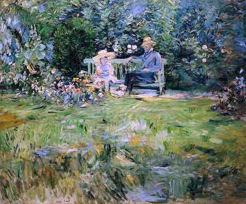 Berthe Morisot A Lesson in the Garden - Hand Painted Oil Painting