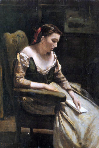 Jean-Baptiste-Camille Corot The Letter - Hand Painted Oil Painting