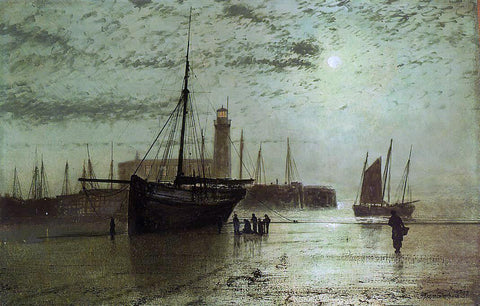 John Atkinson Grimshaw The Lighthouse at Scarborough - Hand Painted Oil Painting