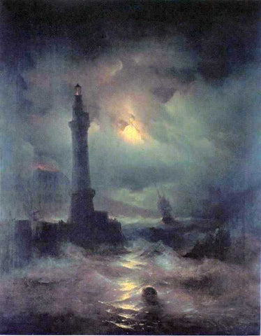 Ivan Constantinovich Aivazovsky The Lighthouse of Naples - Hand Painted Oil Painting