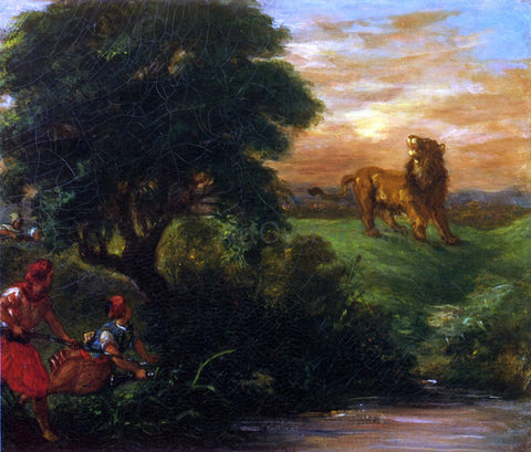 Eugene Delacroix The Lion Hunt - Hand Painted Oil Painting