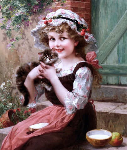 Emile Vernon The Little Kittens - Hand Painted Oil Painting