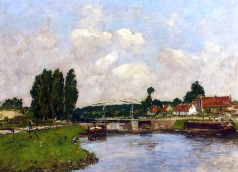 Eugene-Louis Boudin The Lock at Saint-Valery-sur-Somme - Hand Painted Oil Painting
