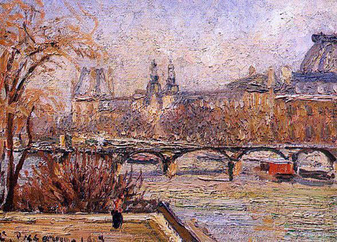 Camille Pissarro The Louvre - Morning - Hand Painted Oil Painting