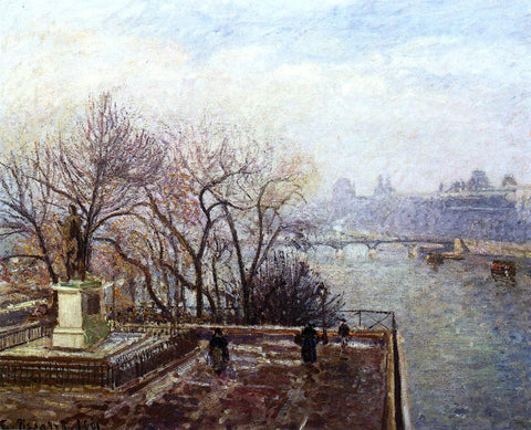Camille Pissarro The Louvre, Morning, Mist - Hand Painted Oil Painting