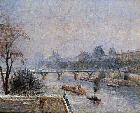 Camille Pissarro The Louvre - Morning, Snow Effect - Hand Painted Oil Painting