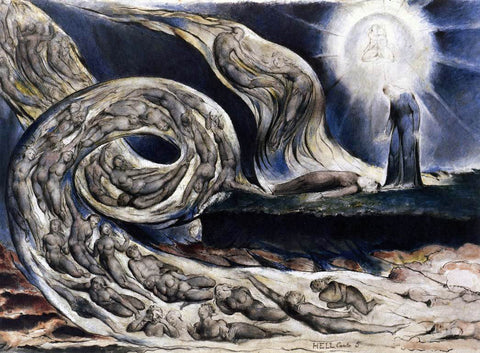 William Blake The Lovers' Whirlwind, Francesca da Rimini and Paolo Malatesta - Hand Painted Oil Painting