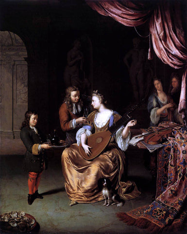 Willem Van Mieris The Lute Player - Hand Painted Oil Painting