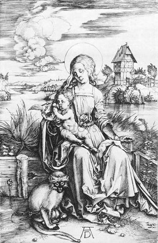 Albrecht Durer The Madonna with the Monkey - Hand Painted Oil Painting