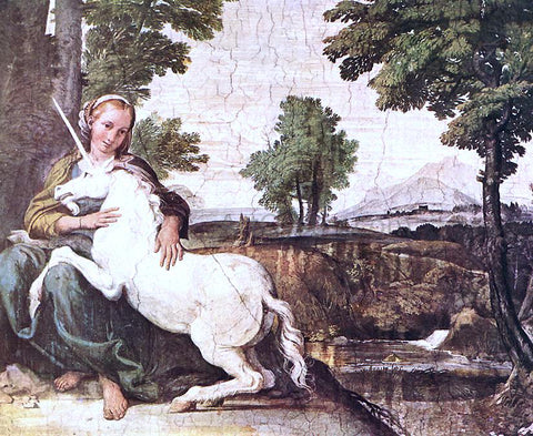 Domenichino The Maiden and the Unicorn - Hand Painted Oil Painting