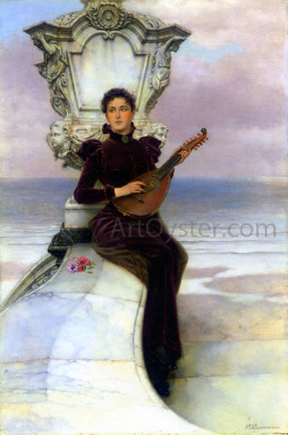 Pieter Haaxman The Mandolin Player - Hand Painted Oil Painting
