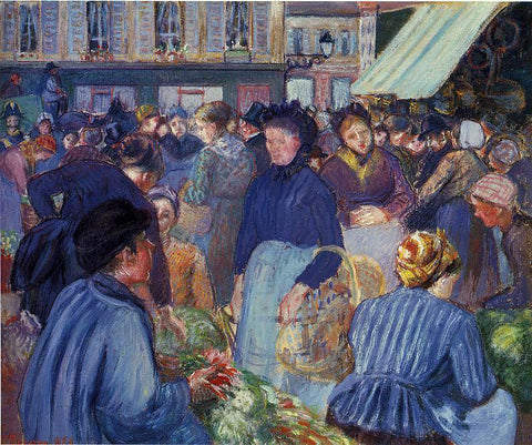 Camille Pissarro The Market at Gisors - Hand Painted Oil Painting