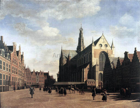 Gerrit Adriaensz Berckheyde The Market Square at Haarlem with the St Bavo - Hand Painted Oil Painting