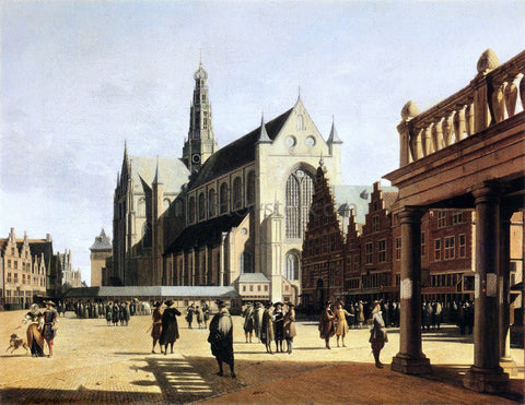 Gerrit Adriaensz Berckheyde The Marketplace and Church at Haarlem - Hand Painted Oil Painting