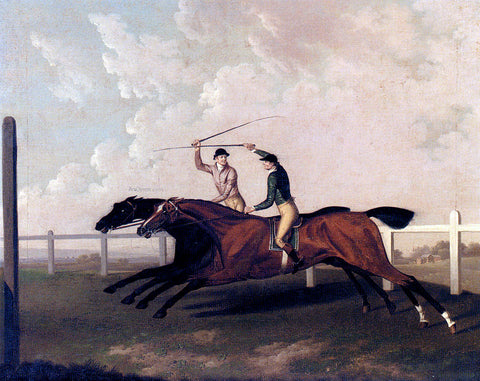 Charles Towne The Match Race At Epsom Between Little Driver And Aaron, May 16, 1754 - Hand Painted Oil Painting
