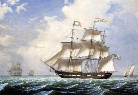 Fitz Hugh Lane The 'Matilda' under Sail - Hand Painted Oil Painting