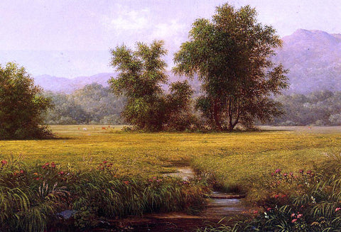 Martin Johnson Heade The Meadow - Hand Painted Oil Painting