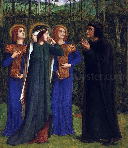 Dante Gabriel Rossetti The Meeting of Dante and Beatrice in Paradise - Hand Painted Oil Painting