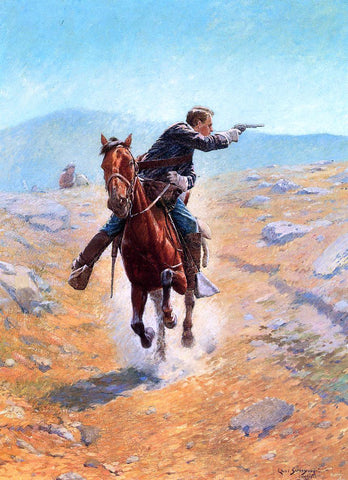 Charles Schreyvogel The Messenger - Hand Painted Oil Painting