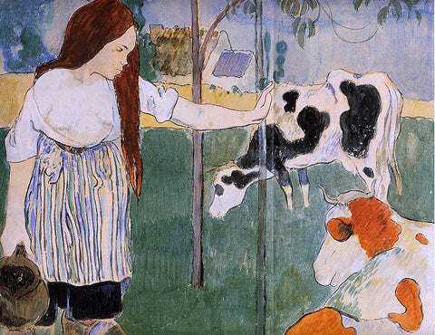 Paul Gauguin A Milkmaid - Hand Painted Oil Painting