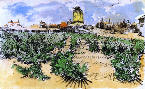 Vincent Van Gogh The Mill of Alphonse Daudet at Fontevieille - Hand Painted Oil Painting
