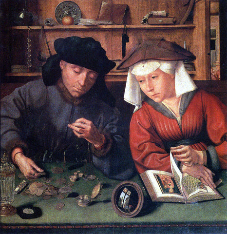 Quinten Metsys The Money Lender And His Wife - Hand Painted Oil Painting