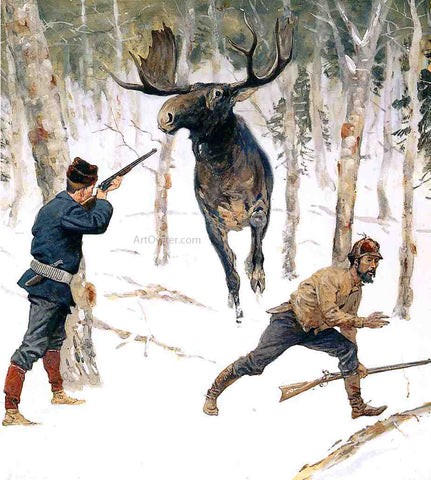 Frederic Remington The Moose Hunt - Hand Painted Oil Painting