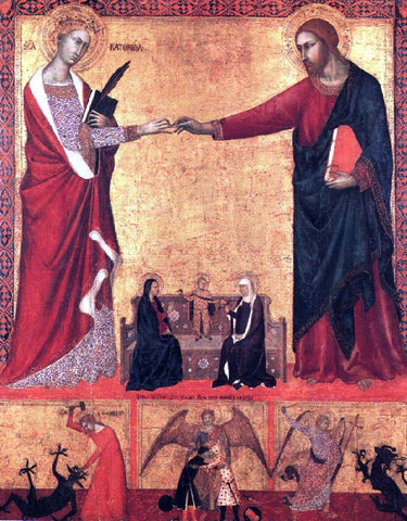 Barna Da siena The Mystical Marriage of Saint Catherine - Hand Painted Oil Painting