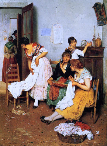 Eugene De Blaas The New Suitor - Hand Painted Oil Painting