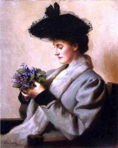 William Worchester Churchill The Nosegay of Violets: Portrait of a Woman - Hand Painted Oil Painting