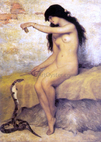 Paul Desire Trouillebert A Nude Snake Charmer - Hand Painted Oil Painting