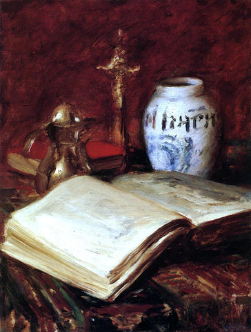 William Merritt Chase The Old Book - Hand Painted Oil Painting