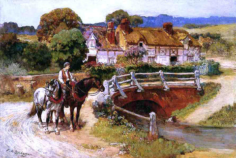 Frederick Arthur Bridgeman The Old Bridge, Normandy - Hand Painted Oil Painting