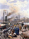 Themistocles Von Eckenbrecher The Old Galatea Bridge connecting Karakoy to Eminonu Over the Gold Horn, Istanbul - Hand Painted Oil Painting