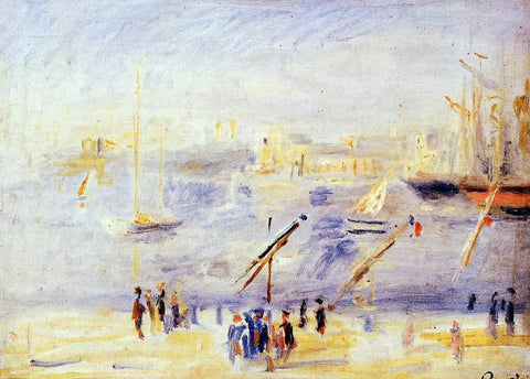 Pierre Auguste Renoir The Old Port of Marseille, People and Boats - Hand Painted Oil Painting