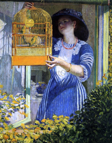Frederick Carl Frieseke The Open Window (also known as The Bird Cage) - Hand Painted Oil Painting