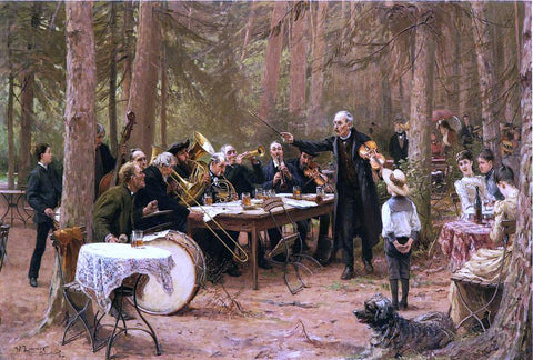 Wilhelm-Carl-August Zimmer The Orchestra, Biergarten - Hand Painted Oil Painting