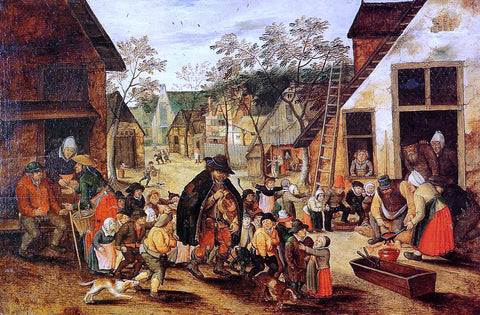 The Younger Pieter Bruegel The Organ Grinder - Hand Painted Oil Painting
