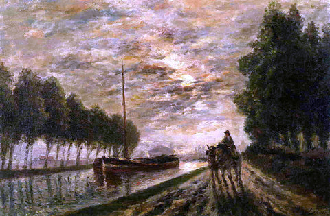 Stanislas Lepine The Ourcq Canal, Towpath, Moonlight - Hand Painted Oil Painting