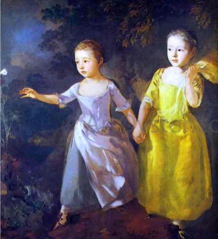 Thomas Gainsborough The Painter's Daughters, Margaret and Mary, Chasing Butterfly - Hand Painted Oil Painting