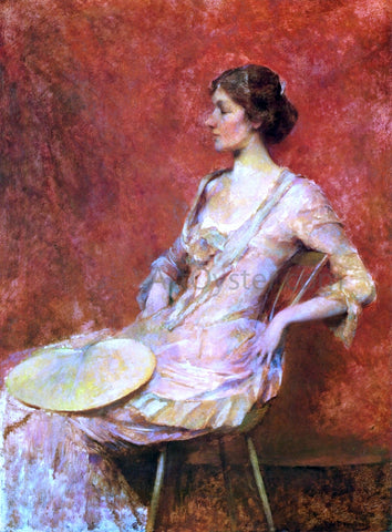 Thomas Wilmer Dewing The Palm Leaf Fan - Hand Painted Oil Painting