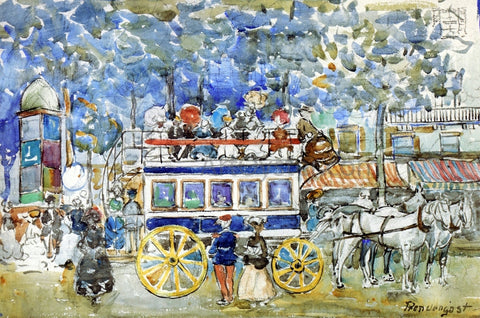 Maurice Prendergast The Paris Omnibus - Hand Painted Oil Painting