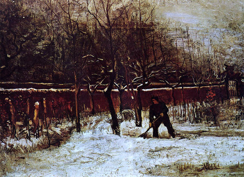 Vincent Van Gogh The Parsonage Garden at Nuenen in the Snow - Hand Painted Oil Painting