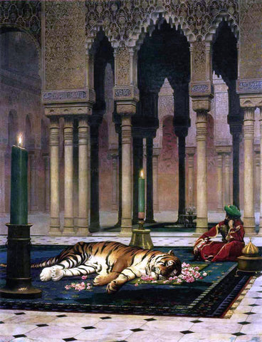 Jean-Leon Gerome The Pasha's Sorrow (also known as Dead Tiger) - Hand Painted Oil Painting