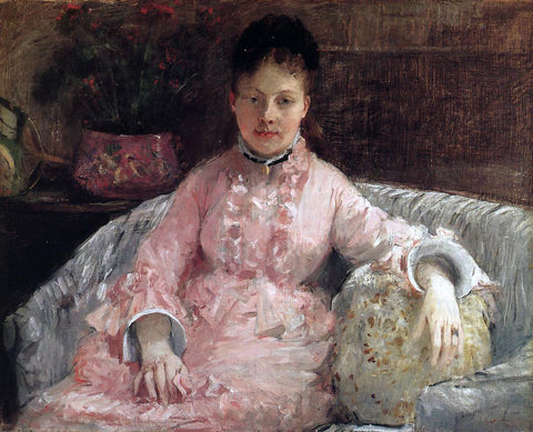 Berthe Morisot The Pink Dress (also known as poop) - Hand Painted Oil Painting