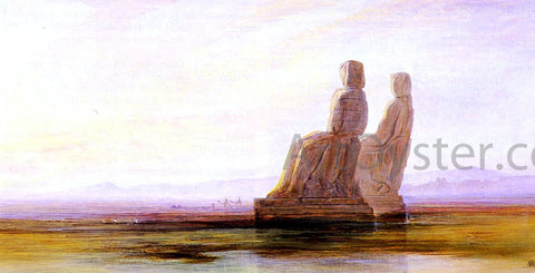 Edward Lear The Plain Of Thebes With Two Colossi - Hand Painted Oil Painting