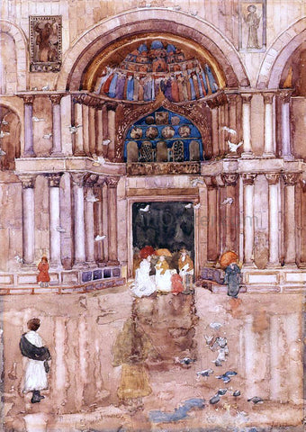 Maurice Prendergast The Porch with the Old Mosaics, St. Marks, Venice - Hand Painted Oil Painting
