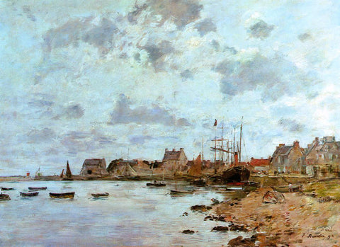 Eugene-Louis Boudin The Port at Saint-Vaast-la-Houghe - Hand Painted Oil Painting