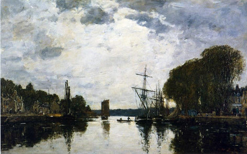 Eugene-Louis Boudin The Port of Landerneau - Finistere - Hand Painted Oil Painting